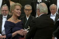 Frances receiving the Nobel Prize